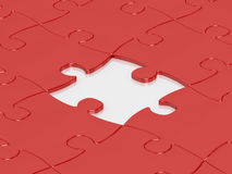 Red jigsaw puzzle pieces. Red jigsaw puzzle assembly with one puzzle missing vector illustration