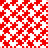 Red Jigsaw Puzzle Pieces Seamless Background. Red and white pieces jigsaw puzzle seamless background pattern stock illustration