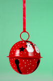 Red jingle bell ornament. A red jingle bell Christmas ornament stock image