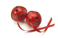 Red jingle bells with red ribbon royalty free stock photos