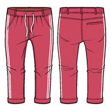 Red joggers with elasticized ribbing and drawstring at waist. Front and back view of joggers with elasticized ribbing and drawstring at waist royalty free illustration