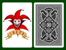 Red Joker playing card. And backside background. Original design. There is in addition a vector format (EPS 8 Stock Images