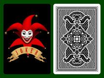Red Joker playing card. On black and backside background. Original design. There is in addition a vector format (EPS 8 Stock Photography