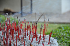 Red joss sticks burn in temple Royalty Free Stock Photo