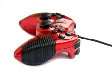 Red joystick game controller . Royalty Free Stock Images