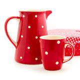 Red jug and cup Royalty Free Stock Photos