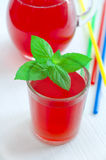 Red juice (cocktail) with mint leaves Royalty Free Stock Photography