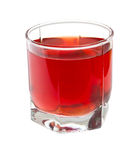 Red juice on a glass on white Royalty Free Stock Photo