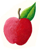 Red juicy apple. Acrylic illustration of Red juicy apple Stock Photography