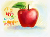 Red juicy apple drawn with crayons Stock Photo
