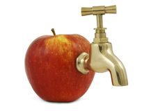 Red juicy apple with faucet Stock Photos