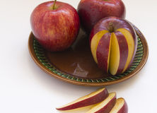 Red juicy Apple. On white background Royalty Free Stock Photo