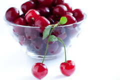 Red and juicy berries. Cherry. In a transparent bowl Stock Photography