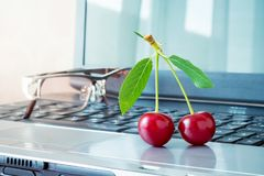 Free Red Juicy Cherries On The Background Of A Laptop. Break During O Royalty Free Stock Image - 119585196
