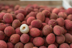 Red juicy lychee for sale stock images
