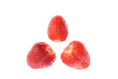Red juicy ripe strawberries isolated on white Stock Photography