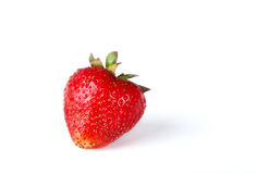 Red juicy strawberry. Juicy red strawberry on white background. Close-up Royalty Free Stock Photos