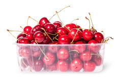 Red juicy sweet cherries in a plastic tray Stock Photography