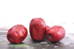 Red jujube--a traditional chinese food Stock Photos