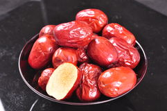 Red jujubes--a traditional chinese food Stock Photo