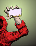Red jumper man holding card Stock Photo