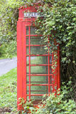 Red K6 phone box covered by brambles. Red k6 phone box in a rural village in West Sussex, UK Royalty Free Stock Photography