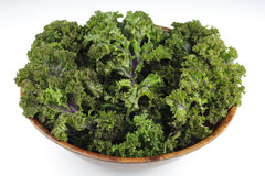 Red Kale, Wood Bowl Royalty Free Stock Photography