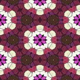 Red kaleidoscope pattern, many ornaments texture, seamless background royalty free illustration
