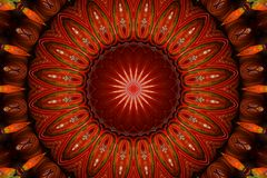 Red kaleidoscopic circular pattern Stock Photography