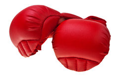 Red karate boxing gloves. Royalty Free Stock Photo