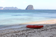 Red kayak. On the asia beach Royalty Free Stock Images