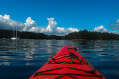 Red Kayak on Montague Harbour. Stock Images