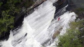 Red Kayak Runs Oceania stock footage
