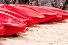Red kayaks Royalty Free Stock Images