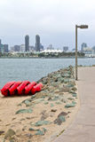 Red Kayaks on a beach. Royalty Free Stock Photography