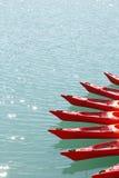 Red kayaks in a lake Royalty Free Stock Image