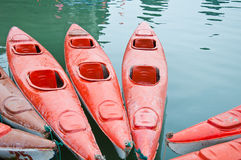 Red Kayaks on sea, halong bay Stock Photos