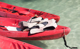 Red kayaks on the tropical beach, Thailand Royalty Free Stock Photo