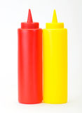 Red Ketchup and yellow mustered dispenser Stock Photo