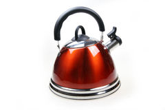 Red kettle. New red kettle isolated on white stock images