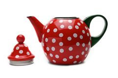 Red kettle for brewing tea.Teapot.Isolated on white background