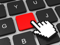 Red key and hand cursor on keyboard of laptop computer. Stock Photos