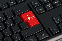 911 red keyboard button. 911 concept on keyboard red button royalty free illustration