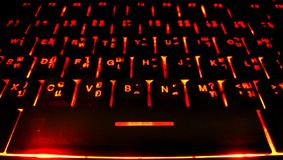 Red keyboard. Lighting neon closeup Royalty Free Stock Images