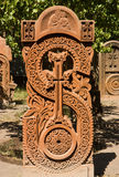 Red khachkar. Royalty Free Stock Images