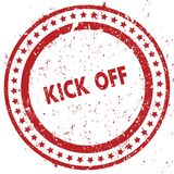 Red KICK OFF distressed rubber stamp with grunge texture. Illustration Stock Photos