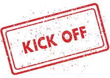 Red KICK OFF rubber stamp. Illustration graphic image concept Stock Photos