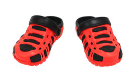 Red kid ubber sandals Royalty Free Stock Image