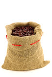 Red kidney beans in a burlap bag Royalty Free Stock Photo