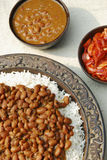 Red kidney beans curry from India. Red kidney beans cooked with turnips (shalgam), tomato onion gravy and fresh spices and served with rice Stock Photos